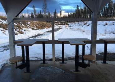 The Hinton Fish and Game Association's outdoor gun range in winter