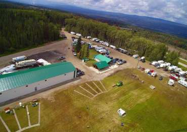 An arial view of the indoor archery range and Trap Shooting facilities.