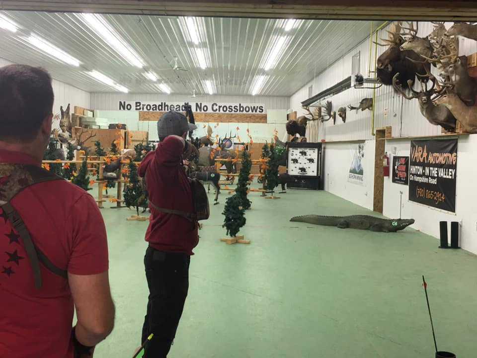 The indoor archery range in Hinton being used for a 3d challenge.