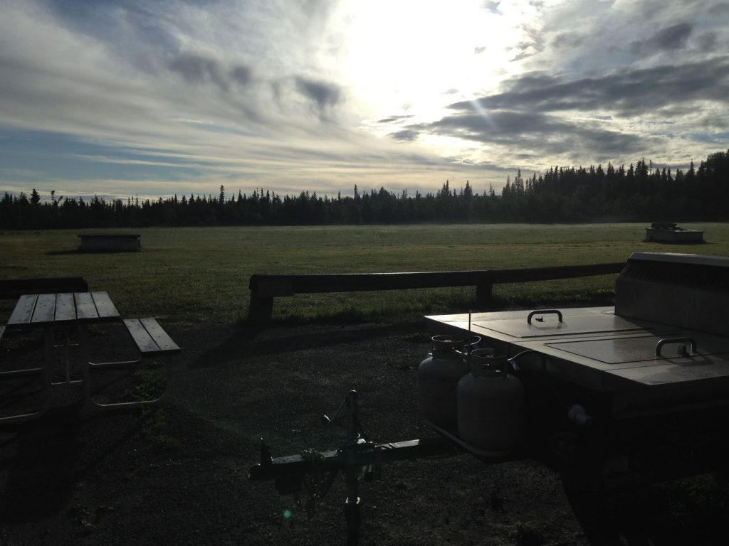 Sunset over the trap shooting facilities in Hinton, AB
